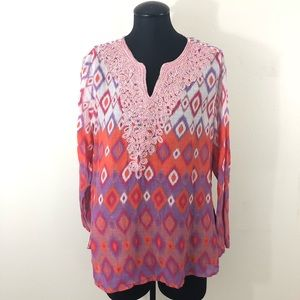 Soft Surroundings Petite Large Embroidered Tunic
